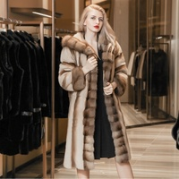 XuXin 2019 oem Women's fashion clothing long plus size denmark coffee suede fur winter coat with hat fur collar