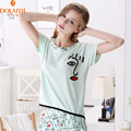 Summer Brand Girls Casual 2PC Cotton Lounge Pajama Set Fashion Women O Neck Printed Homewear Cute