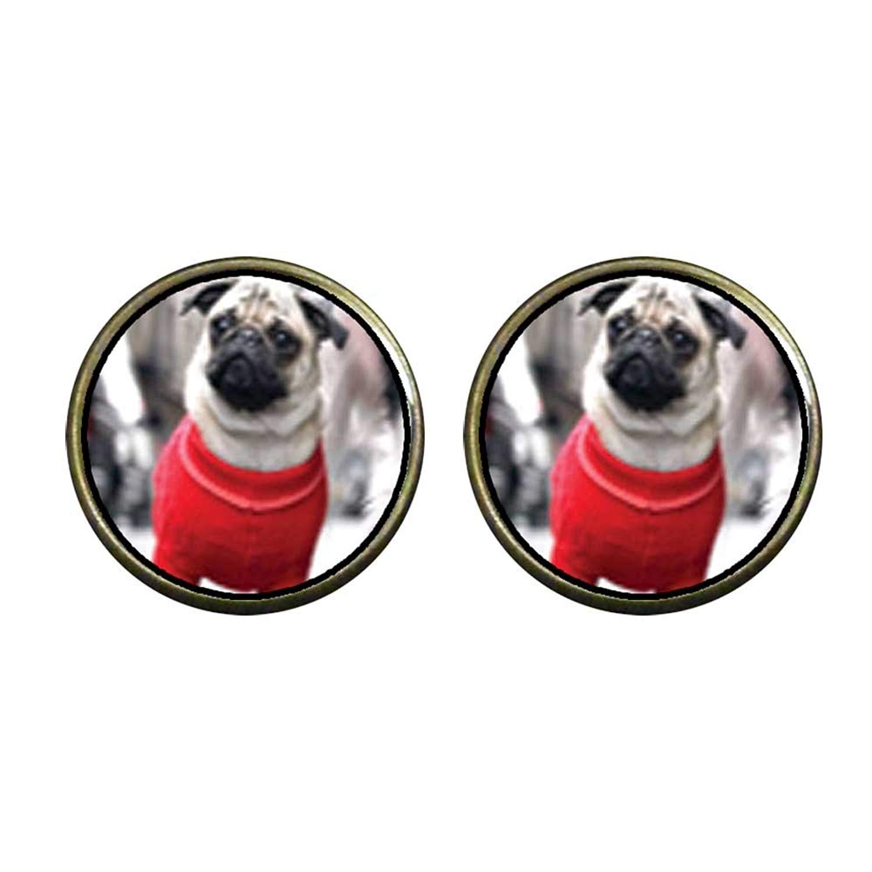 GiftJewelryShop Bronze Retro Style Pug Dog Photo Stud Heart Earrings #12