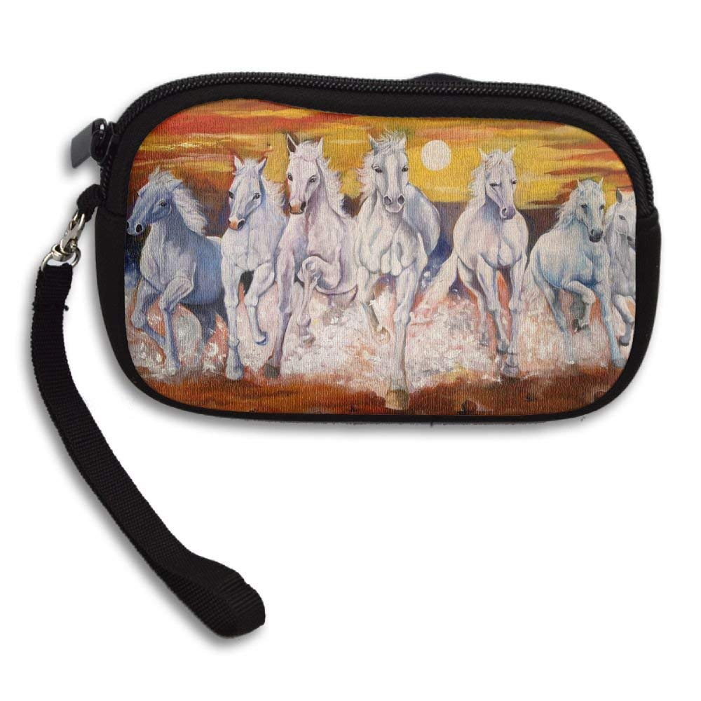 bd5175236e68 Get Quotations · WCVRUT Unisex Clutch Wallet For Woman Ladies -Oil Painting  Running White Horses Long Purse Bag