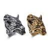 Promotion Gift Fashion Punk Style Stainless Steel Animal Wolf Head Ring Design For Boy