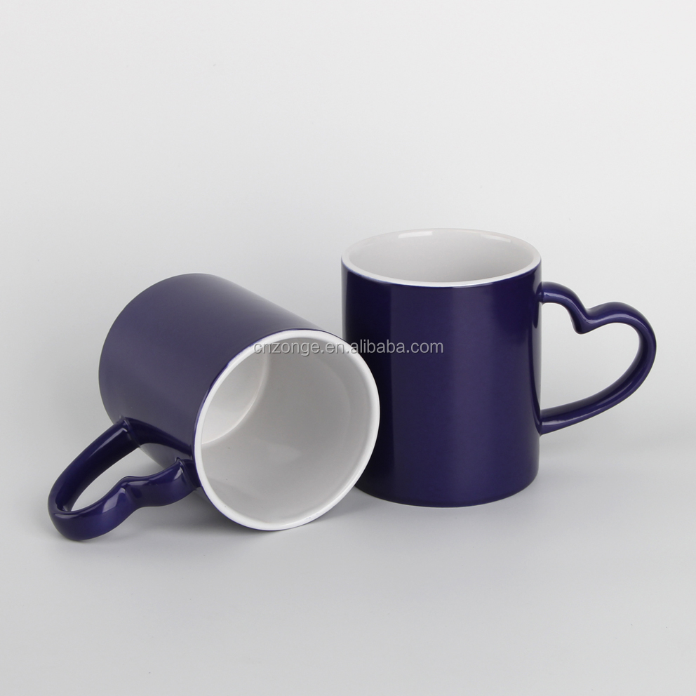 blue heart handle magic thermal color changing ceramic mug for sublimation