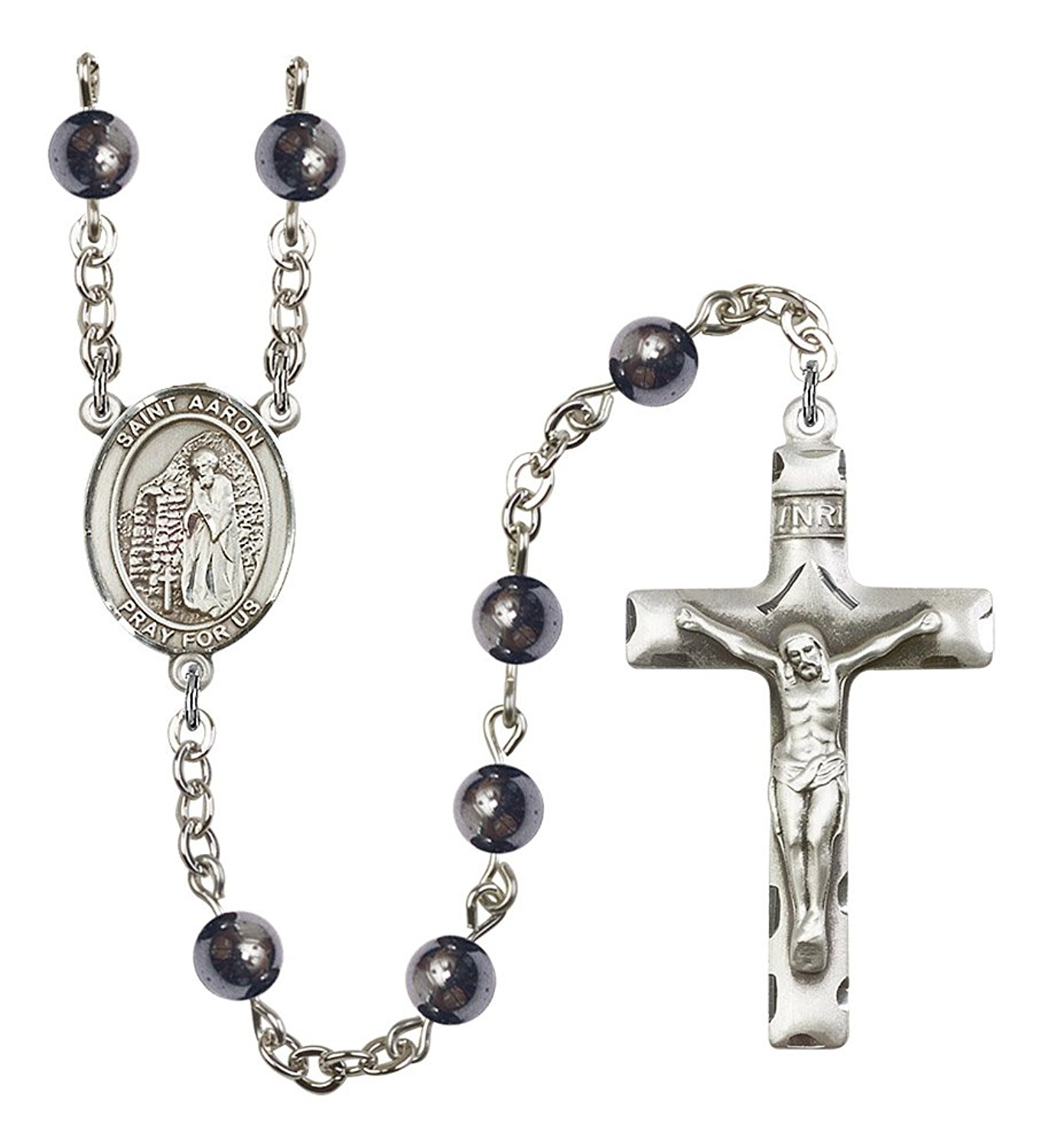 Silver Finish St. Aaron Rosary with 6mm Hematite Beads, St. Aaron Center, and 1 3/4 x 1 inch Crucifix, Gift Boxed