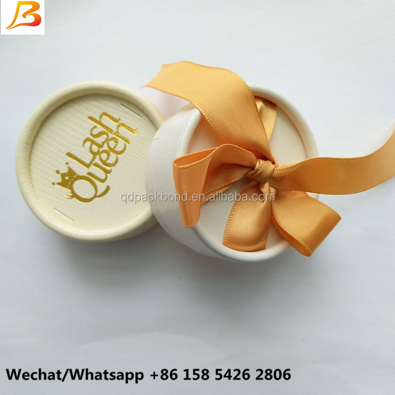 Custom OEM ODM high quality tube paper round eyelash box packaging with private label