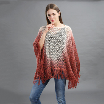 Tassel Acrylic Woven Scarf Poncho tops girls fancy crochet tassel poncho gradient rampclothes spring autumn