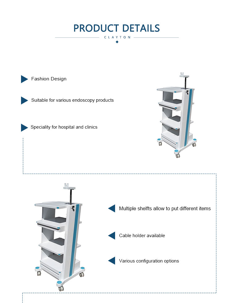 Hld Scope Cleaning Room Design: Quick Heat Dissipation Abs Endoscopy Cart With 5 Tier