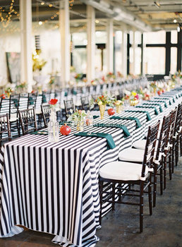 black and white stripe tablecloth table runner weddings bridal shower dinner party