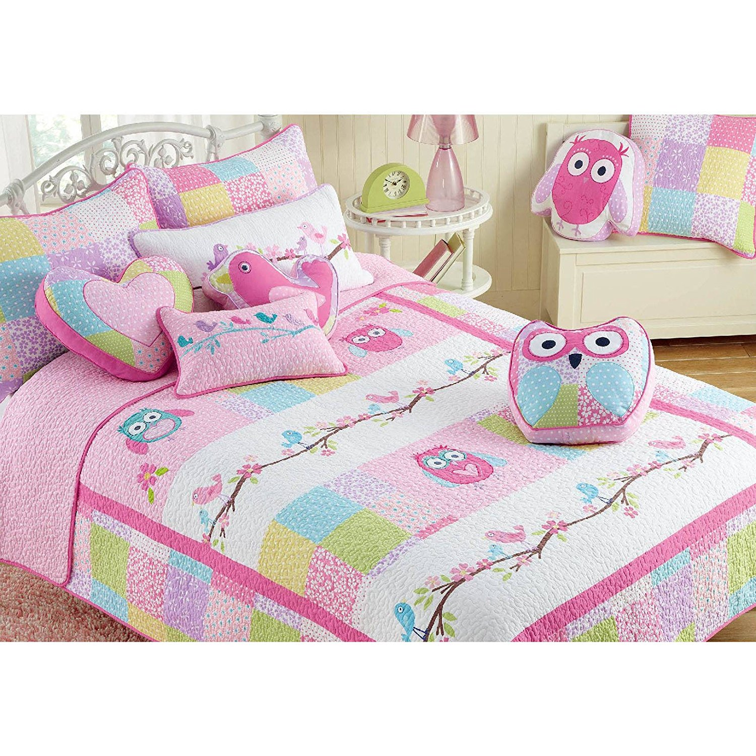 3 Piece Kids Girls Pink Owl Theme Queen Quilt Set, Adorable Animal Print Bedding, Nocturnal Birds Pink White Green Floral Pattern Flowers Horizontal Stripes Dancing Owls Contemporary, Polyester