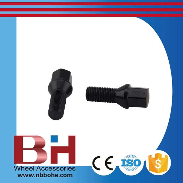 12x1.50 Hex17mm L28/54mm Black Hot selling universal wheel nut m20x1.5 with low price Cone seat bolt