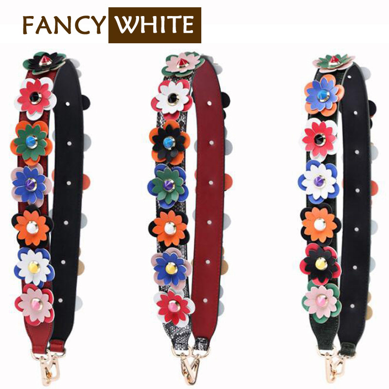 Adjuster flower leather material replacement women accessories wide shoulder bag strap