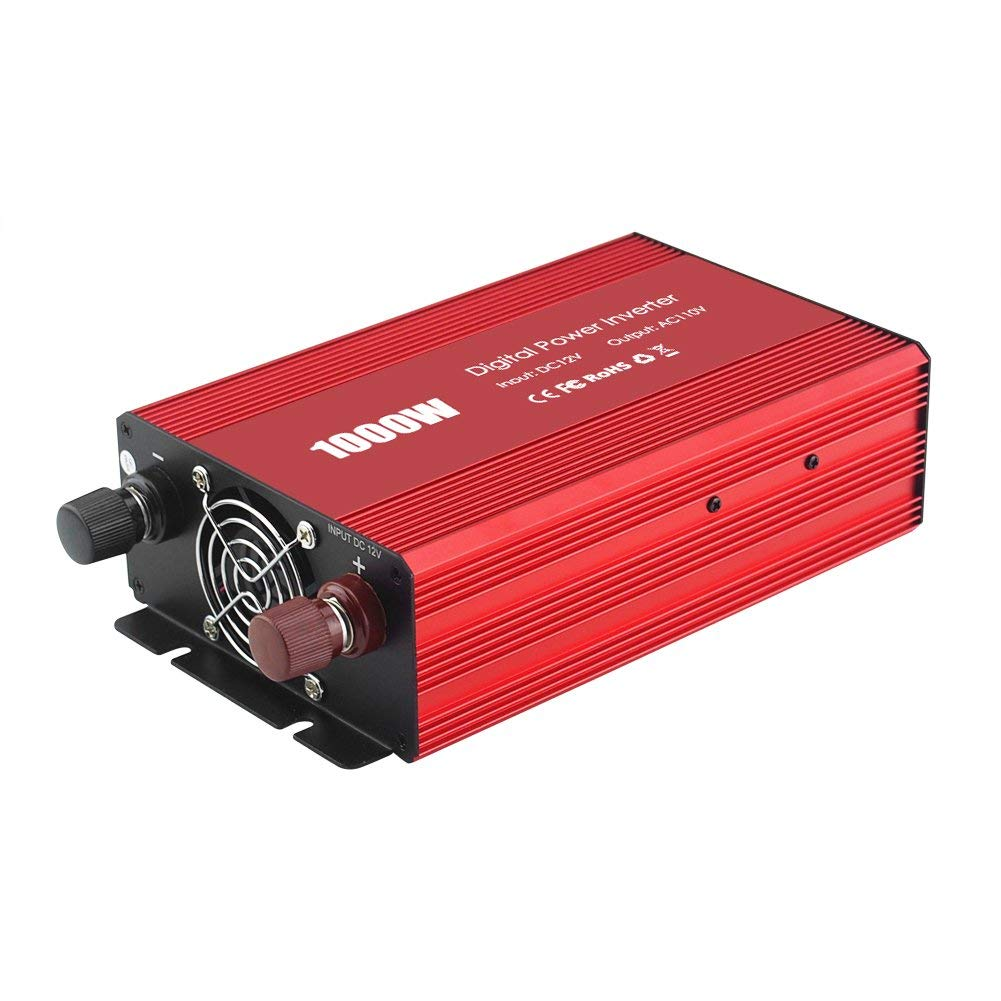 Power Inverter, Acouto 1000W Car Converter DC 12V to AC 110V W/ 3 AC Outlets Adapter for Car Cigarette Lighter Adaptor Home Outdoor Use (Red)