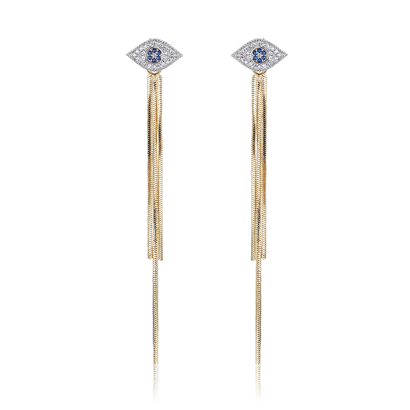 Lasted Product Factory Price Ladies Platinum Plated Evil Eyes Chains Long String Drop Earrings