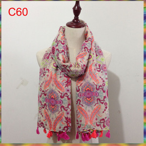Wholesale fashion flower print tassel lady scarf
