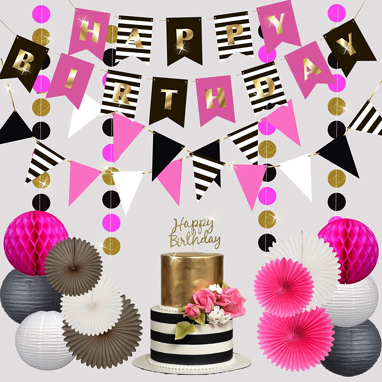 Premium Selamat Ulang Tahun Dekorasi Untuk Anak Perempuan Wanita Pesta Set Kit Kate Spade Terinspirasi Banner Garland Bunting Kertas Lentera Buy