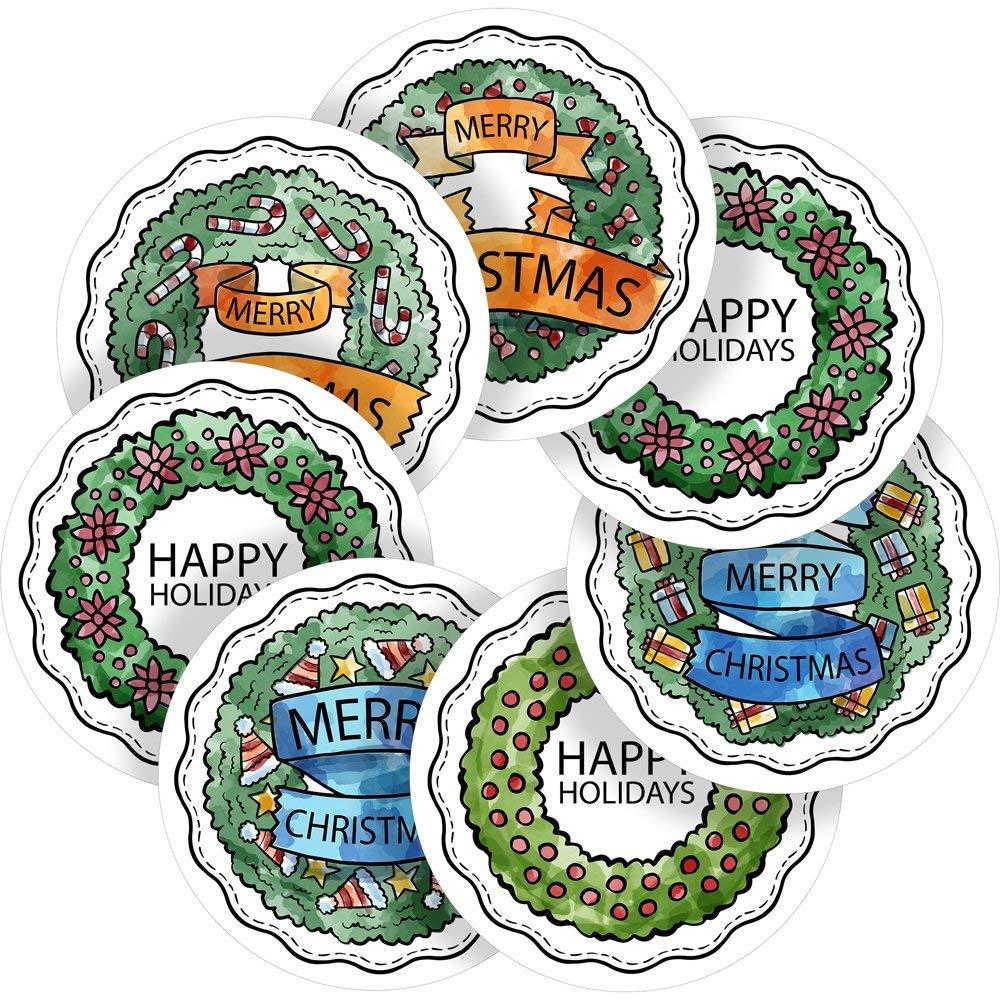 "Christmas Wreaths Reward Sticker Labels, 70 Stickers @ 1"" inch, Glossy Photo Quality, Ideal for Children Parents Teachers Schools Doctors Nurses Opticians"