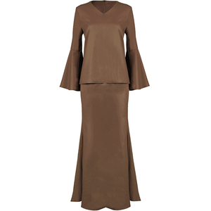 OEM Plain Peplum Muslimah Clothing Fashion Adults Age Group And Women Gender Baju Kurung Modern