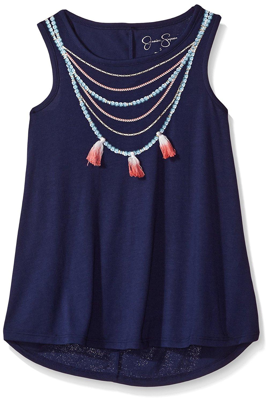 Jessica Simpson Big Girls' Miki Dip Dye Necklace Tee