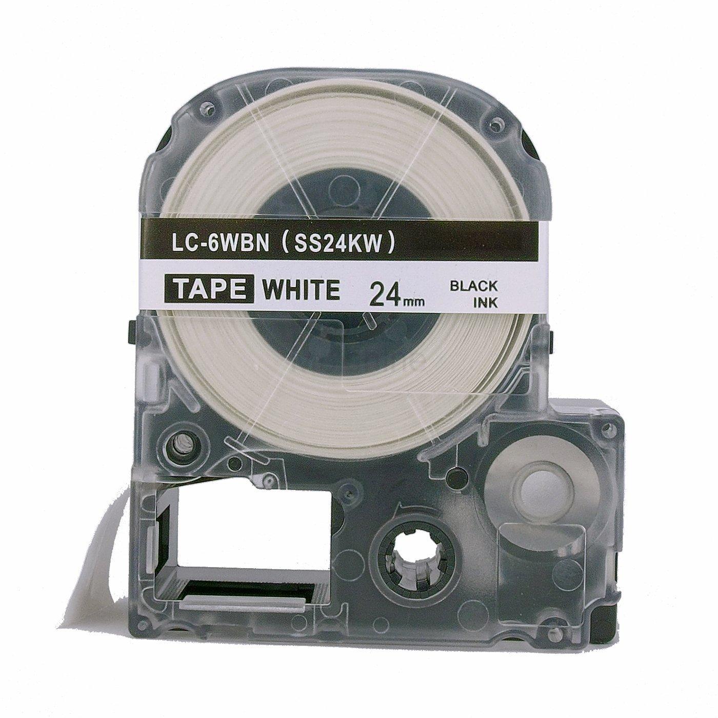 "molshine 1Pack LC-6WBN9LK-6WBN9 (ss24kw) Label Tape COMPATIBLES para Epson negro sobre blanco (1/1"" 24mm) 8m"