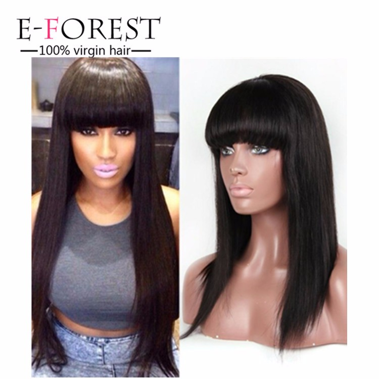 E-forest human Hair silk base lace front wig silky straight with hair bang