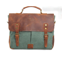 Canvas with genuine leather tote European and American retro postman bag handbag single shoulder bag