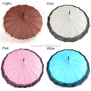 Princess Lace Umbrella Rain Women Fashion 16 Ribs Pagoda Parasol Long-handle Umbrella Windproof Sunny and Rainy Umbrella Parasol