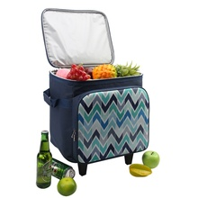 2019 Custom Ice Cream Carry Trolley Tote Large Thermal Picnic Rolling Cooler Bag On Wheel For Food