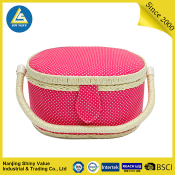Full cotton fabric covering single handle oval household storage basket
