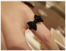Fangzuan shiny black bow bow ring ring female temperament