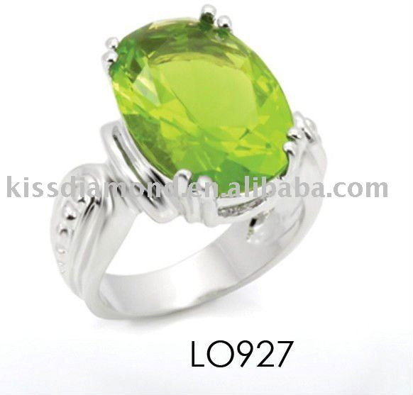 925 Solid Silver Rhodium Plated Peridot Finger Ring