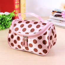 Fashion polka dot printed satin nylon travel cosmetic bag