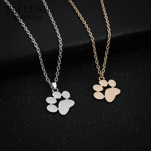 Wholesale Fashion Jewelry Pet Memorial Cat Dog Paw Print Pendant Necklace