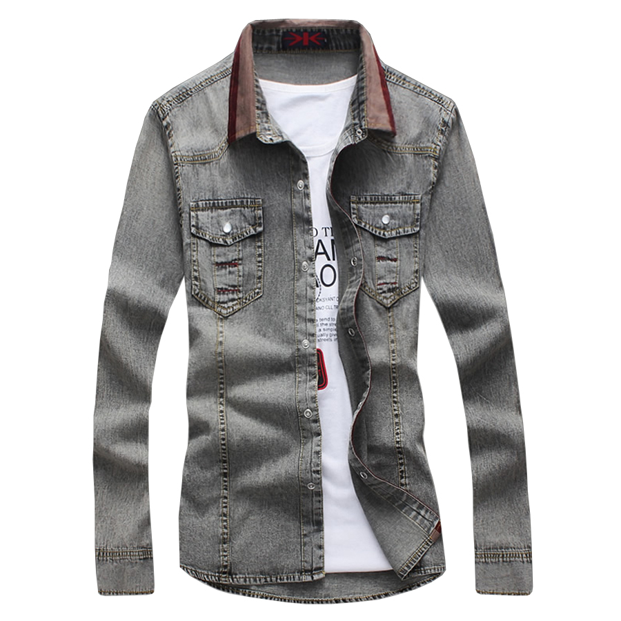 6802f188e Get Quotations · 2015 Mens Denim Shirts Long Sleeve Black Jeans Casual Shirt  camisas hombre chemise homme slim fit