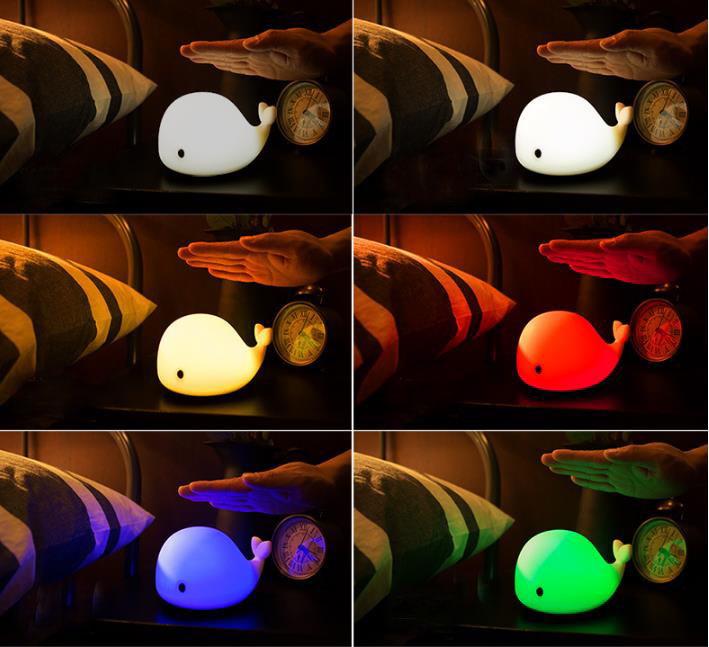 Cartoon Silicone Kids Animal lamp Bedroom Decorative Dolphin Night Lights