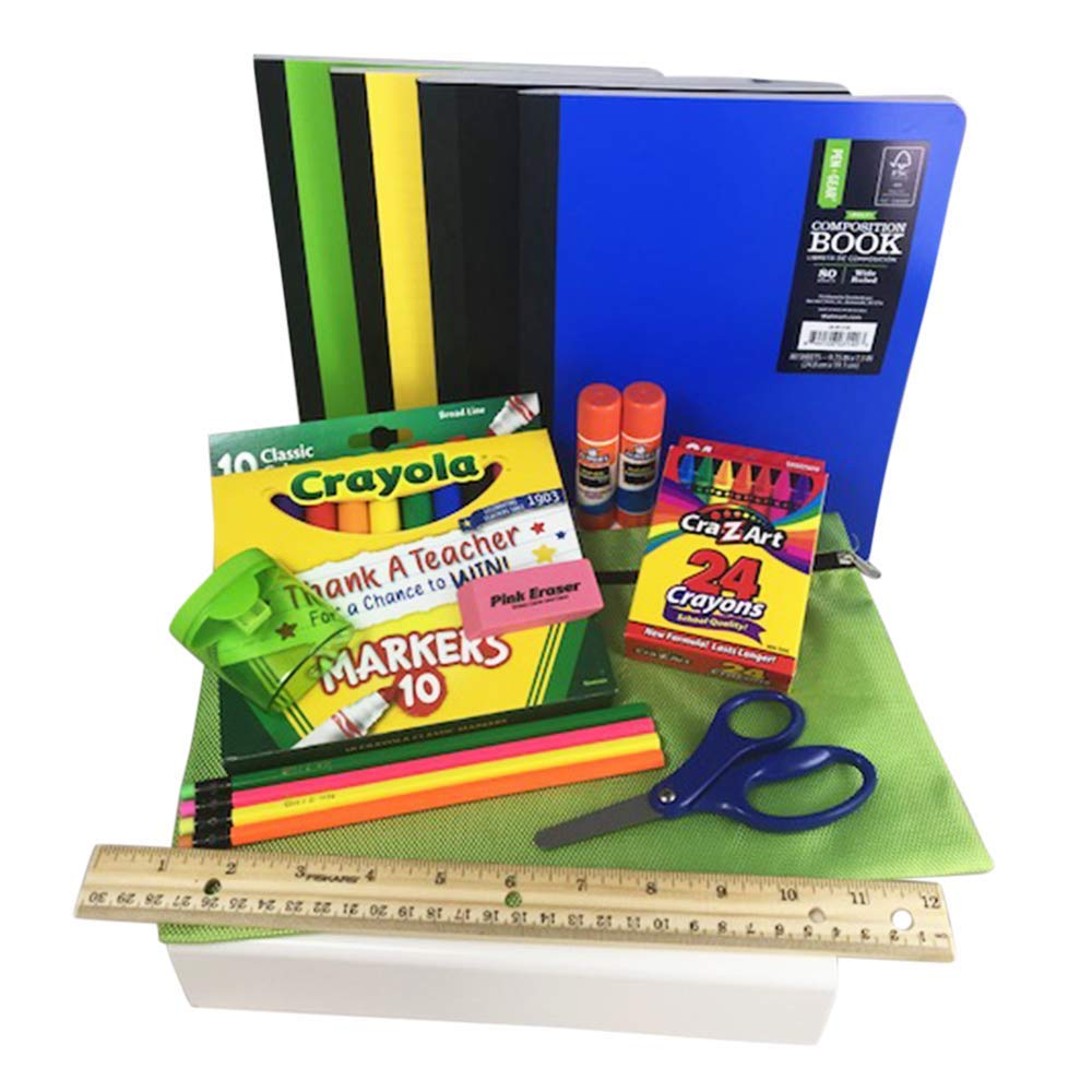 Back to School Bundle/Starter Kit - Great for Grade School - Includes Apple Green Supply Pouch, notebooks, Ruler, Markers, Crayons, Pencils, Pencil Sharpener, Eraser, and Glue Sticks