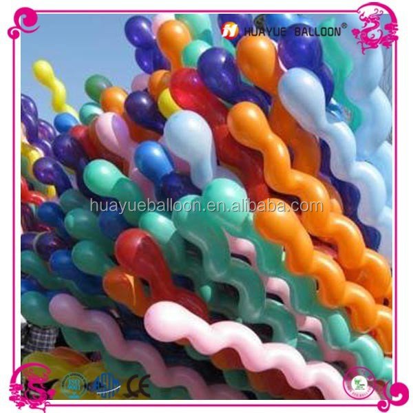 wholesale screw/spiral latex balloon for pary decoration, swirl balloon