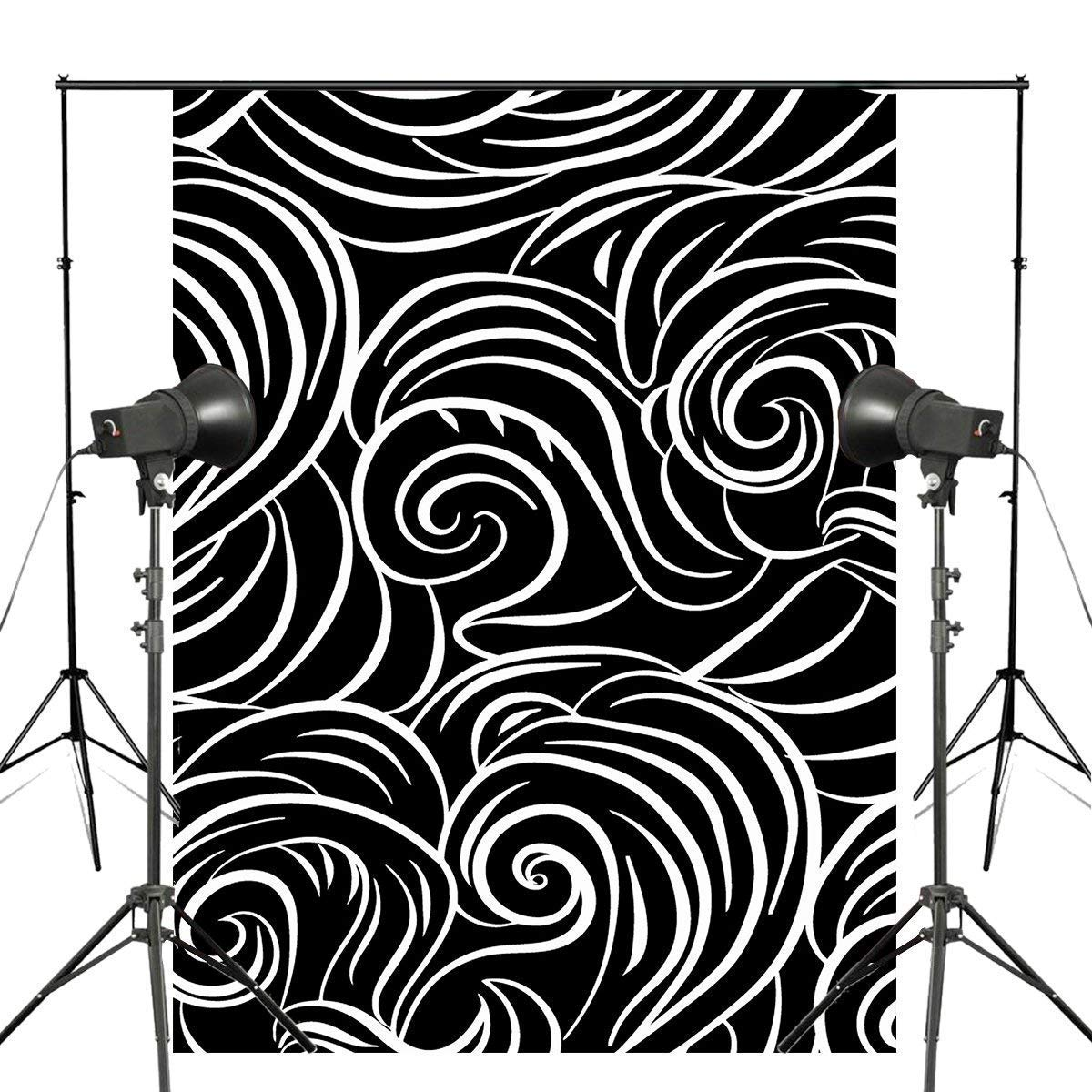 ERTIANANG Abstract Waves Photography Backdrop Black White Clouds Background Art Photo Studio Wall Backdrop 5x7ft