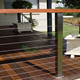 stainless steel square post wire railing with timber handrail