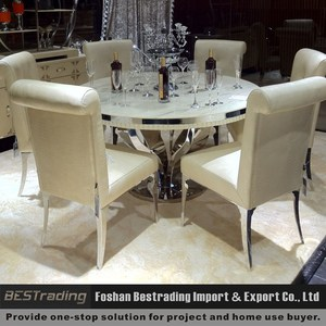 modern round nature white marble dining table