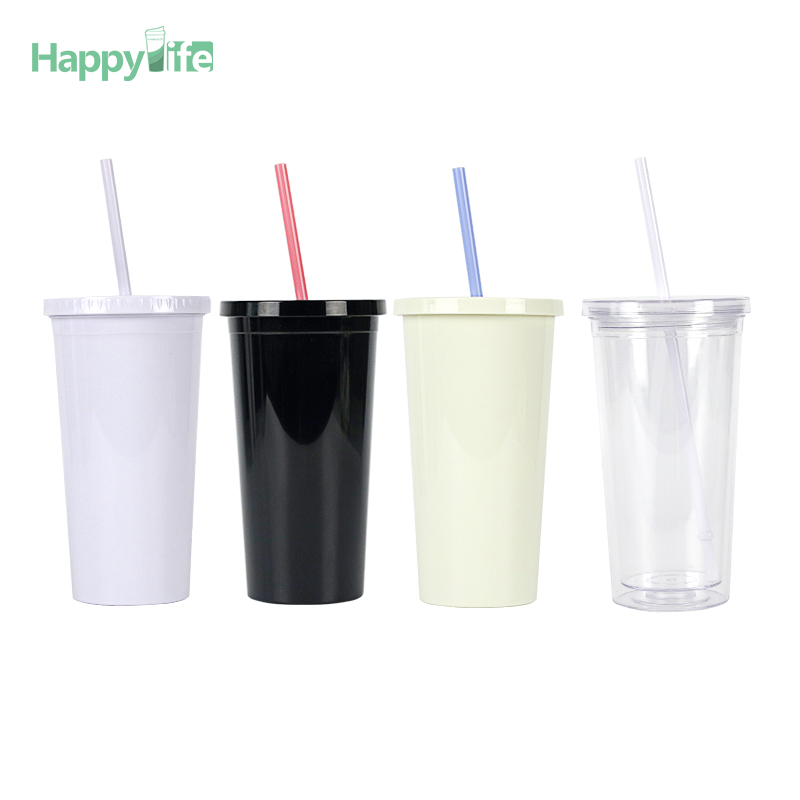 custom printed plastic drink <strong>cup</strong> with straw and lid