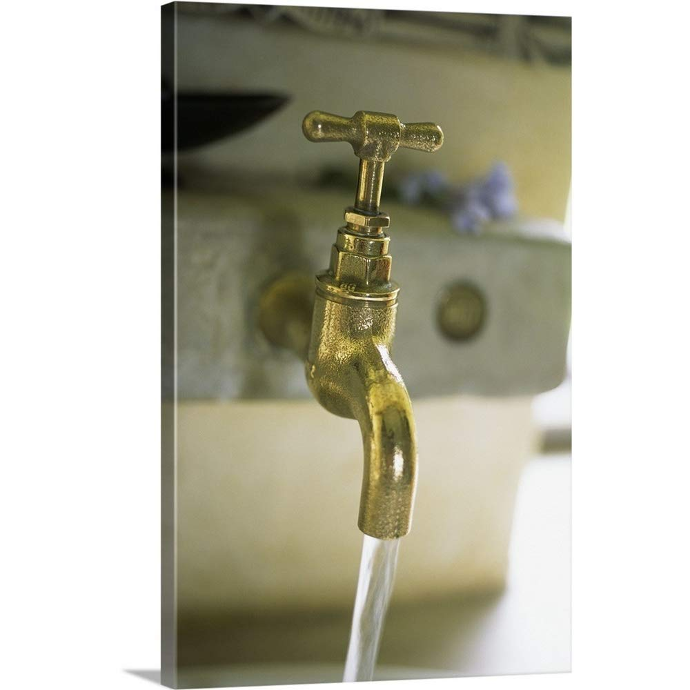 "Great Big Canvas Gallery-Wrapped Canvas Entitled Brass Running Faucet 32""x48"""
