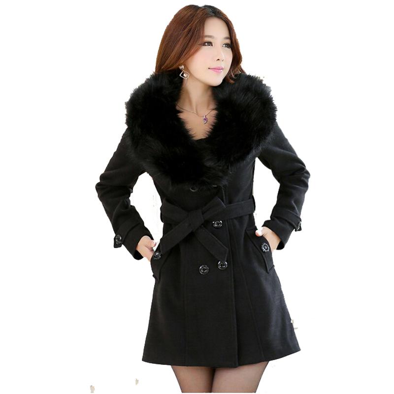 a6c5f416c93 Get Quotations · 2015 women fur collar warm winter wool coat women s long  woolen overcoat red black designer woollen