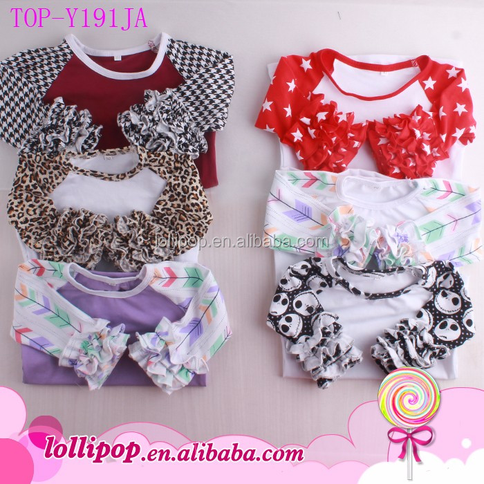 Girl Shirt Models Wholesale Baby Girls Childern Cotton Ruffle Shirt Clothes Icing Ruffle Sleeve Raglan Shirts Tunic Tops FLORAL