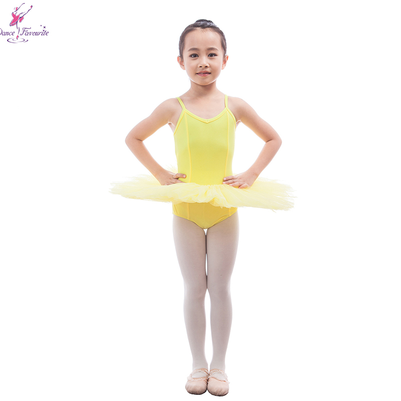 Girls Ballet Dance Costume Yellow Color 5 Layers of Stiff Tulle Tutu Leotard Dress 17050-2 фото