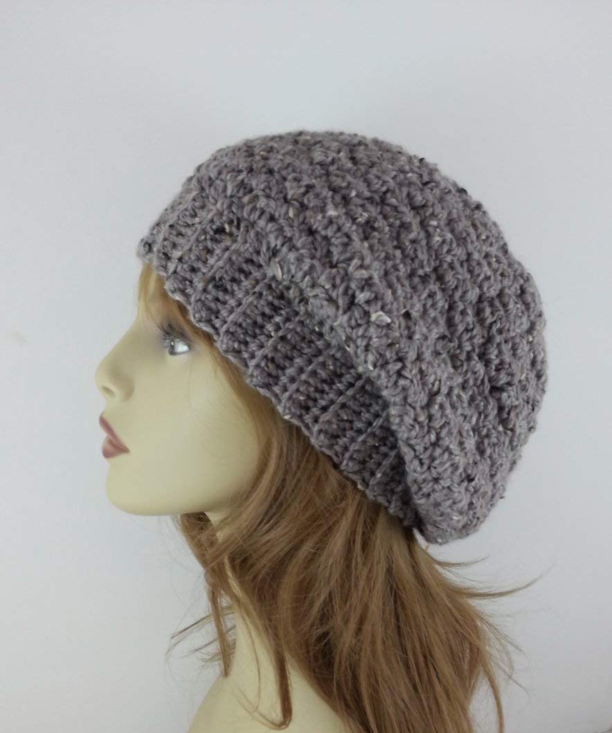 8b768a762a871 Get Quotations · Winter Hat Slouchy Beanie for Women Alpaca Merino Wool  Gray Made in USA