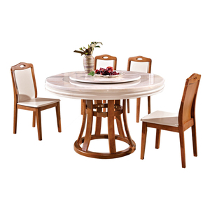 Factory sale 2 layers rotatable modern white marble round dining table