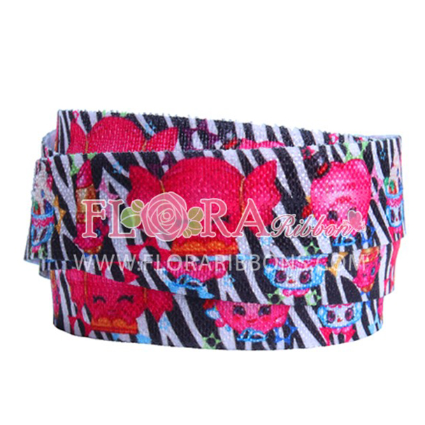 Heat Transfer Print Fold Over Elastic Hair TIes RIbbon for School GIrls