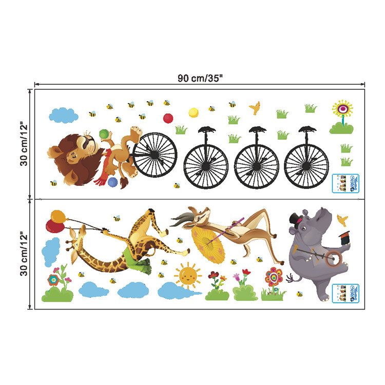 Cartoon animal stepping bicycle wall sticker lion giraffe wallpaper bedroom kids room kindergarten DIY Removable PVC Wall decal
