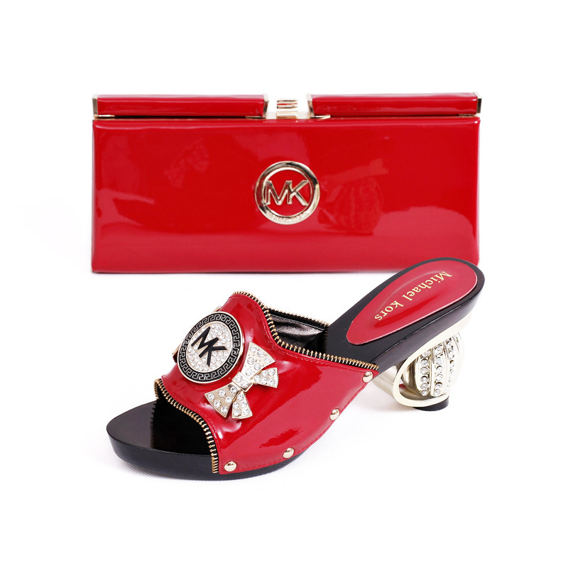 b9ae9ebe28d Get Quotations · MK015-02 Red Free Shipping African Pumps Shoes Matching  Bag Fashionable African Party Shoes High