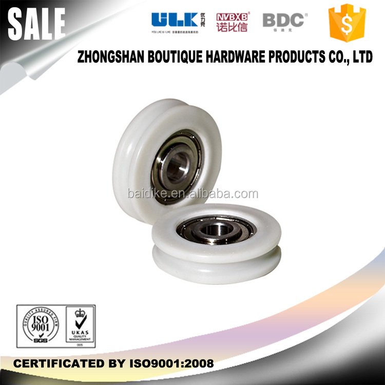 High quality long duration time rail and wheels for sliding door plastic roller U groove with certificate