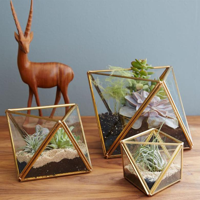 Indoor gardening handmade geometric glass terrarium for modern planter